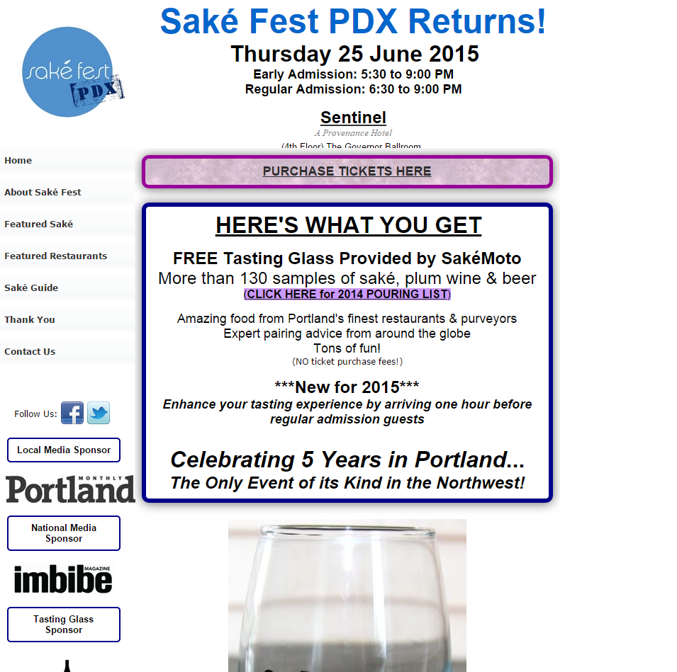 Old Saké Fest PDX website